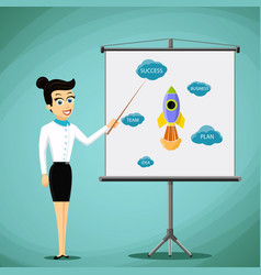 Woman showing a business presentation on the vector