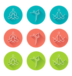 Yoga line art icons with long shadow vector