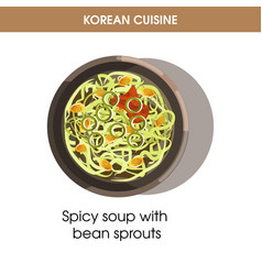 korean cuisine bean sprout soup traditional dish vector image