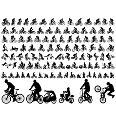 bicyclists silhouettes collection vector image