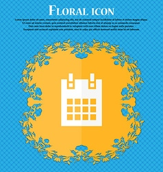 calendar page icon Floral flat design on a blue vector image