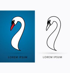 head swan side view graphic vector image