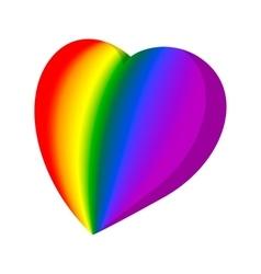 Rainbow heart cartoon icon vector