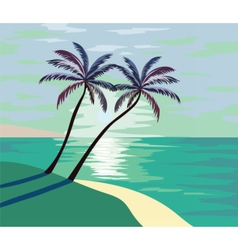 ummer seaside shore with palm trees vector image