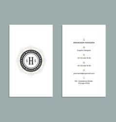 vintage ornament business card template vector image