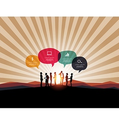 Infographic with business meeting on mountain back vector image vector image