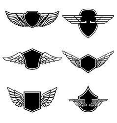 set of emblems with wings isolated on white vector image vector image