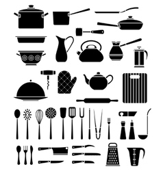 Set of kitchen utensil and collection of cookware vector image vector image