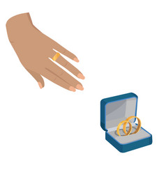 golden wedding rings with love forever engravings vector image