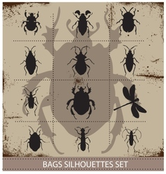 Insect and bags silhouettes sign black color vector image vector image