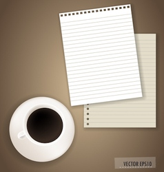 Paper with coffee cup ready for your text vector image