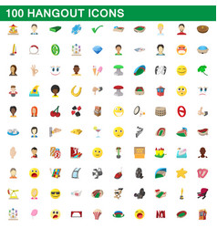 100 hangout icons set cartoon style vector
