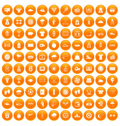 100 tennis icons set orange vector