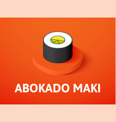 Abokado maki isometric icon isolated on color vector
