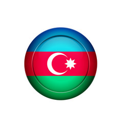 azerbaijan flag on the round button vector image