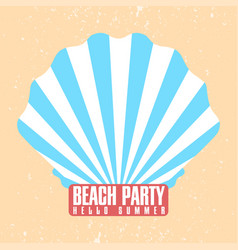 Beach party poster template shell conch with vector