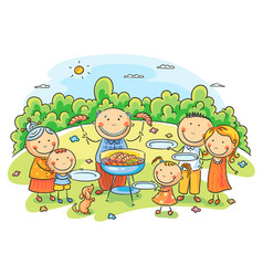 Big family having picnic vector