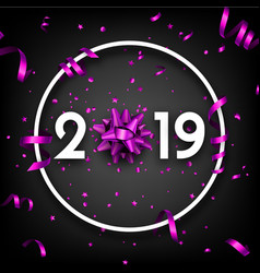 black 2019 happy new year card with purple bow and vector image