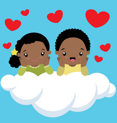 Black boy and girl on cloud valentines day card vector