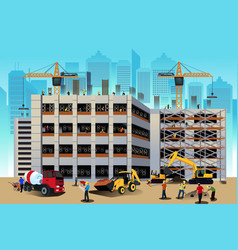 building construction scene vector image