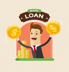 businessman giving money credit loan banking vector image