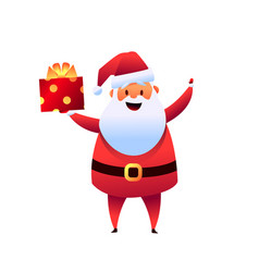 cartoon santa claus with present box vector image