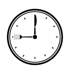 clock time dinner restaurant fork and knife vector image