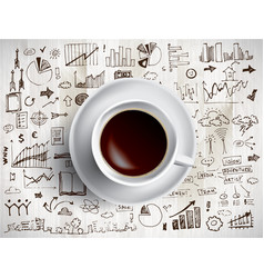 coffee cup concept - business doodle with coffe vector image