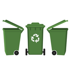 colorful cartoon dumpster front and side view vector image