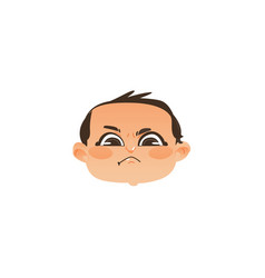 comic style angry baby face head twisted mouth vector image