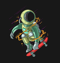 Cool astronaut play skateboarding extreme vector
