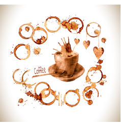Cup drawn pour coffee with splashes and blots vector