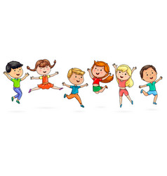 cute cartoon kids jumping fun vector image