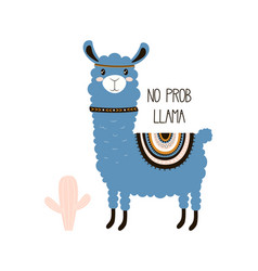 cute llama isolated bright animal vector image