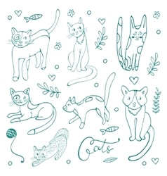 Cute set of hand drawn cats vector