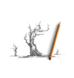 Dead trees concept hand drawn isolated vector