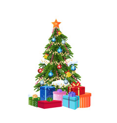 decorated gift box new year christmas tree concept vector image