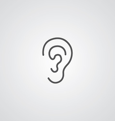 ear outline symbol dark on white background logo vector image