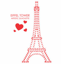 Eiffel tower artistic colored heart silhouette vector