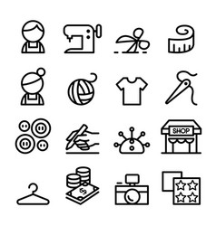 fashion design tailor dressmaker sewing icons vector image