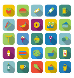 Fast food color icons with long shadow vector