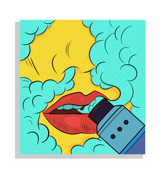 Female lips with drip in smoke vector