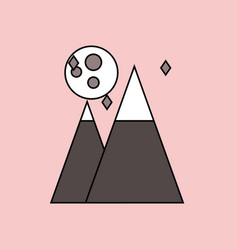 Flat icon design collection moon and pyramids vector
