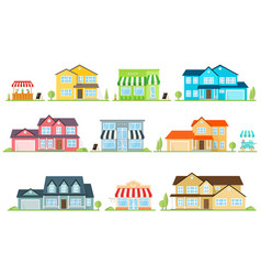 flat icon suburban american house and vector image