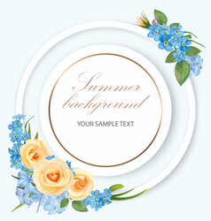 floral background with roses phloxes forget me not vector image