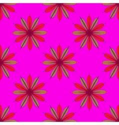 Fractal flower seamless pattern on pink background vector image