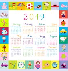 Frame with toys 2019 calandar for kids vector