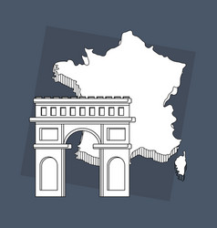 France culture card with arch triumph vector