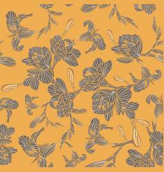 Freesia seamless pattern blooming flowers vector