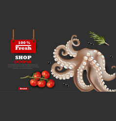 fresh octopus banner realistic 3d detailed vector image